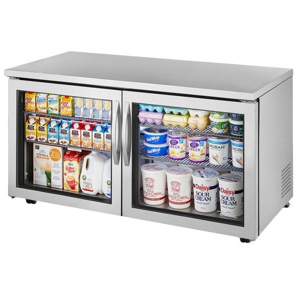 True TUC-60G-LP~FGD01 60 inch Low Profile Undercounter Refrigerator with Glass Doors