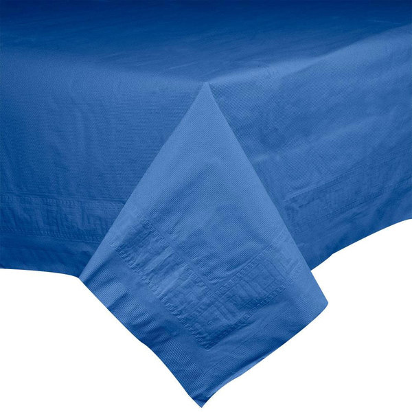 Hoffmaster 220622 54 inch x 108 inch Cellutex Navy Blue Tissue / Poly Paper Table Cover - 25/Case