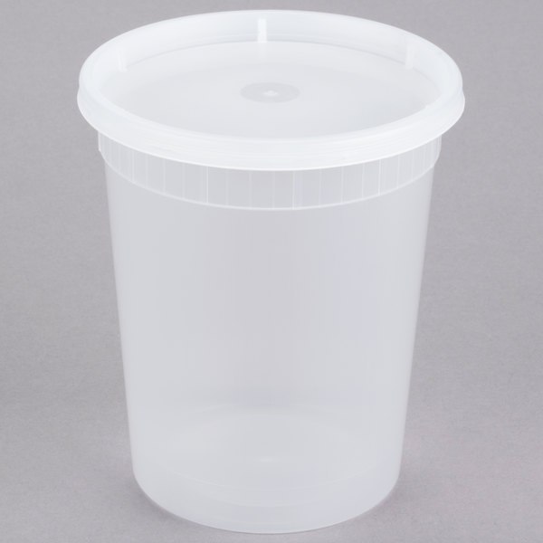 32 oz. Microwavable Translucent Plastic Deli Container with Lid - 240/Case