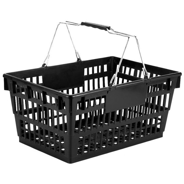 Winholt LSB-1BK Black 19 inch x 13 inch Plastic Grocery Market Shopping Basket