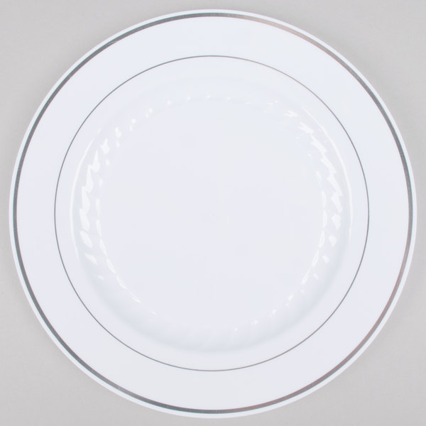 Fineline Silver Splendor 510-WH 10 inch White Plastic Plate with Silver Bands - 12/Pack