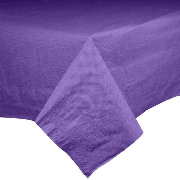Hoffmaster 220639 54 inch x 108 inch Cellutex Purple Tissue / Poly Paper Table Cover - 25/Case