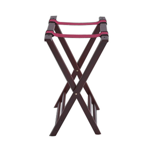 32 inch Mahogany Wood Tray Stand with Red Belts