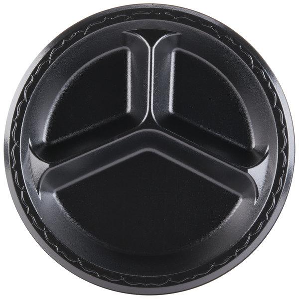 Genpak LAM13-3L Elite 10 1/4 inch Black 3 Compartment Laminated Foam Plate - 500/Case