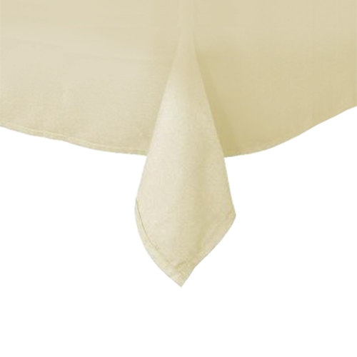 54 inch x 114 inch Ivory Hemmed Polyspun Cloth Table Cover