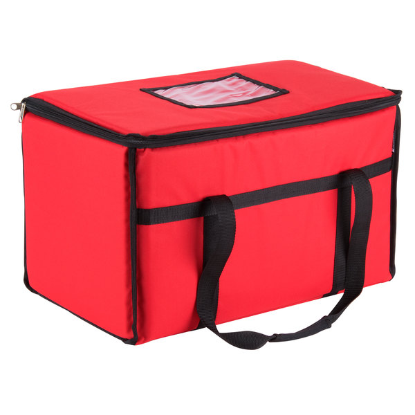 San Jamar FC2212-RD 22 inch x 12 inch x 12 inch Red Insulated Nylon Food Delivery Bag