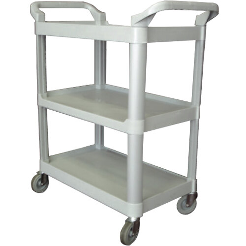 33 1/4 inch x 17 inch x 37 1/2 inch Gray Three Shelf Utility Cart / Bus Cart