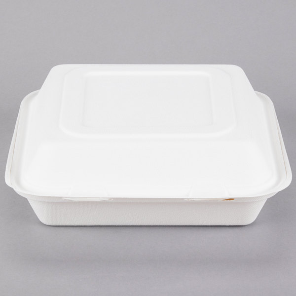 Dart Solo HC9CSC-2050 Bare 9 inch Sugarcane 3-Compartment Takeout Container - 200/Case