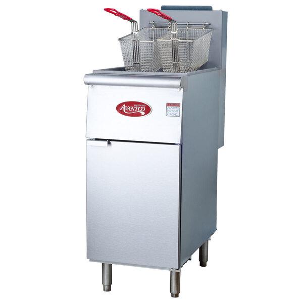 Avantco FF300 40 lb. Stainless Steel Floor Fryer - 3 Tubes, 90,000 BTU