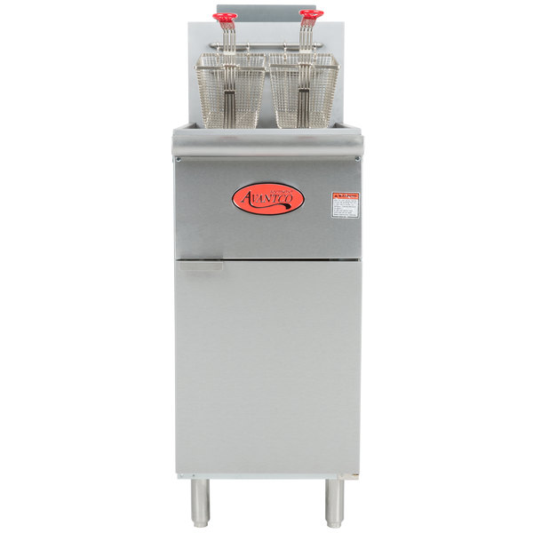 Avantco FF300 Natural Gas 40 lb. Stainless Steel Floor Fryer