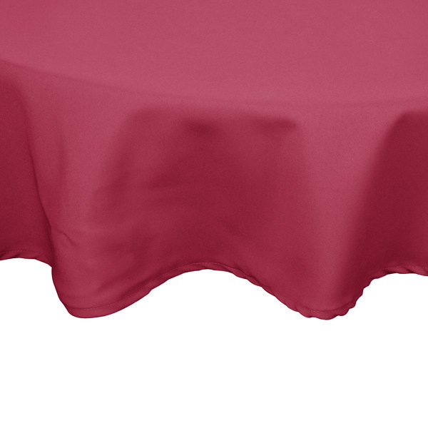 132 inch Round Mauve 100% Polyester Hemmed Cloth Table Cover