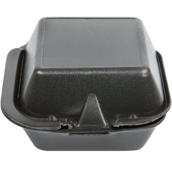 Genpak SN225-BK 6 inch x 6 inch x 3 inch Black Foam Hinged Lid Container 500 / Case