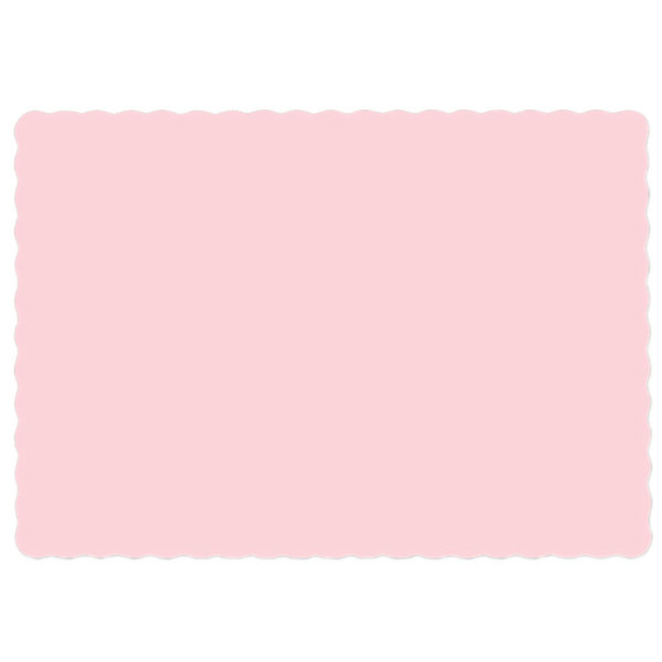 Hoffmaster 310558 10 inch x 14 inch Pink Colored Paper Placemat with Scalloped Edge - 1000/Case