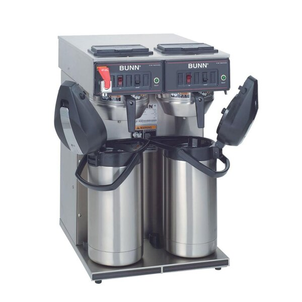 Bunn CWTF Twin APS Airpot Brewer with Gourmet Funnel and Hot Water Faucet - 120/240V (Bunn 23400.0046)