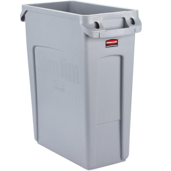 rubbermaid 1971258 gray 16 gallon slim jim wall hugger trash can. Black Bedroom Furniture Sets. Home Design Ideas