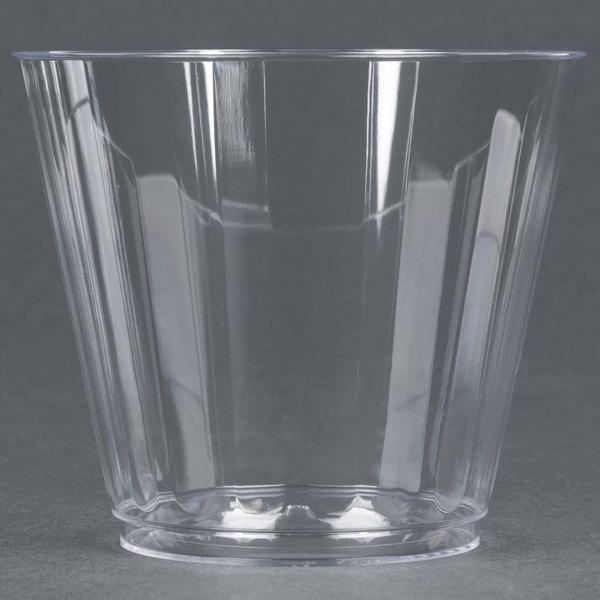 WNA Comet CC9240 Classicware 9 oz. Squat Clear Plastic Fluted Tumbler - 240/Case