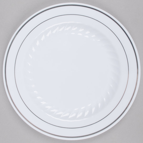 Fineline Silver Splendor 507-WH 7 inch White Plastic Plate with Silver Bands - 15/Pack