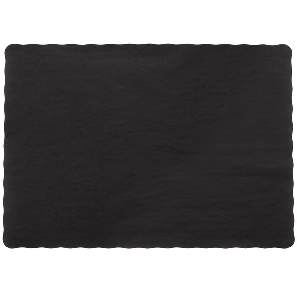 10 inch x 14 inch Black Colored Paper Placemat with Scalloped Edge - 1000/Case