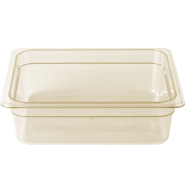 Cambro 24HP150 H-Pan 1/2 Size Amber High Heat Food Pan - 4 inch Deep