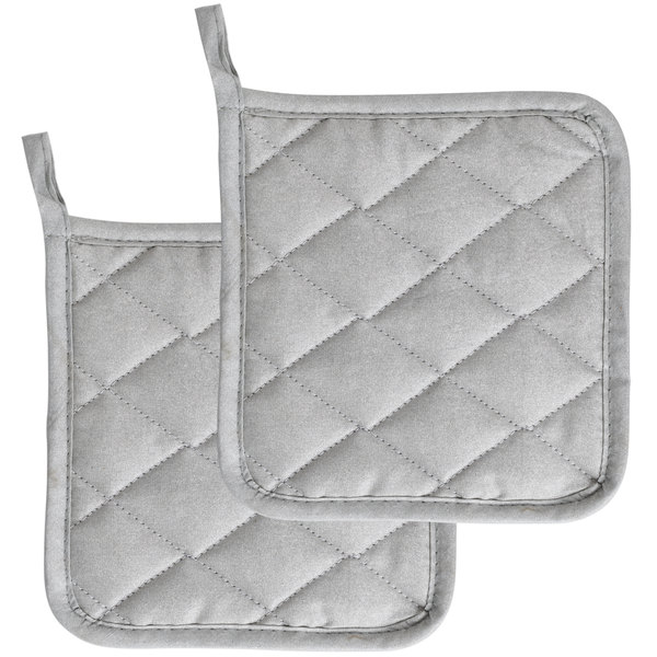 Choice 8 inch Square Silver Silicone Pot Holder - 2/Pack