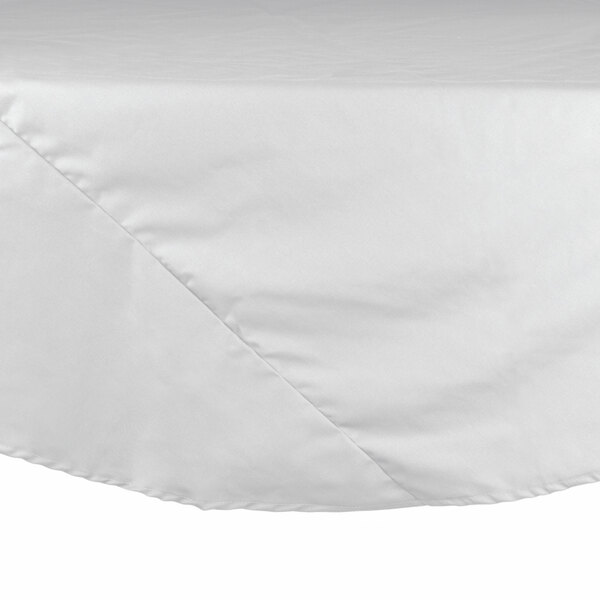72 inch White Round Hemmed Polyspun Cloth Table Cover