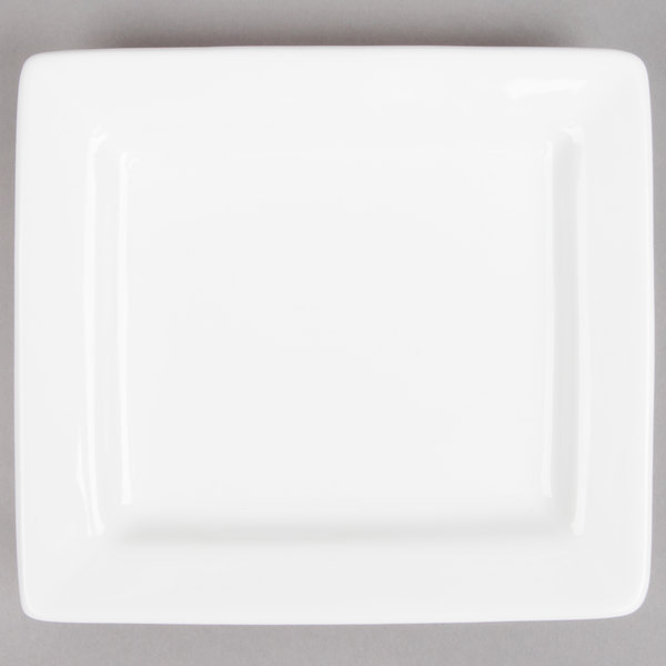 Tuxton BWH-0603 DuraTux 6 inch x 5 1/2 inch White Rectangular China Plate - 12/Case