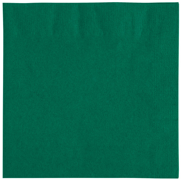 Choice 10 inch x 10 inch Hunter Green 2-Ply Beverage / Cocktail Napkins - 250 / Pack