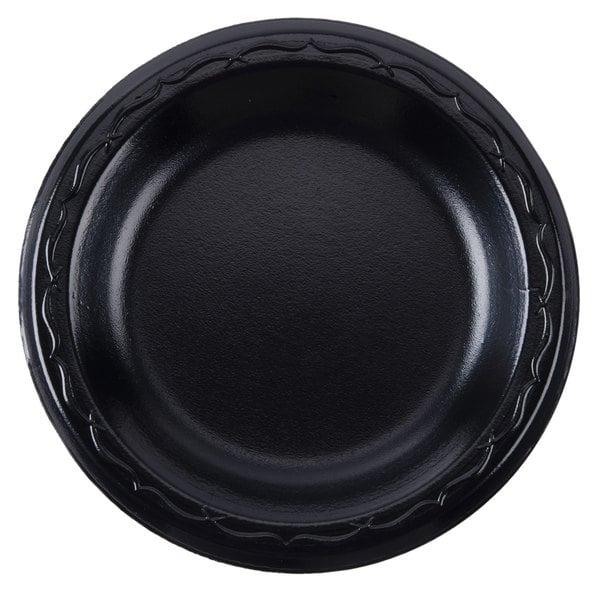 Genpak LAM10-3L Elite 10 1/4 inch Black Laminated Foam Plate - 500 / Case