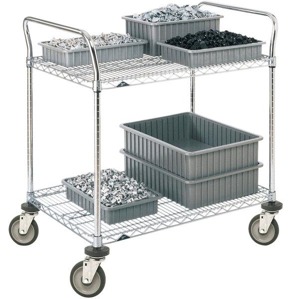 Metro 2SPN53DC Super Erecta Chrome Two Shelf Heavy Duty Utility Cart with Polyurethane Casters - 24 inch x 36 inch x 39 inch