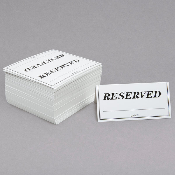 6 inch x 3 inch Table Tent Sign Reserved - Double-Sided - 250/Pack