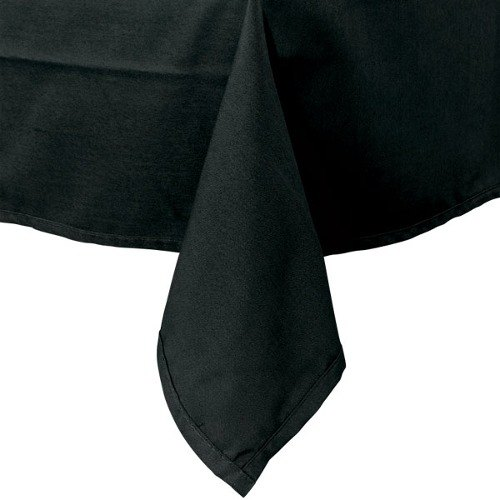 72 inch x 72 inch Black Hemmed Polyspun Cloth Table Cover