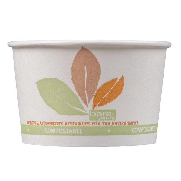 Dart Solo V508PL-JF522 Bare Eco-Forward 8 oz. Paper Soup / Hot Food Cup with Leaf Design - 1000/Case