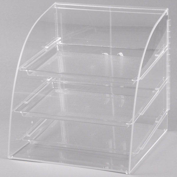 Cal-Mil P255 Euro Style Curved Front Acrylic Display Case with Rear Door - 15 1/2 inch x 17 inch x 16 1/4 inch