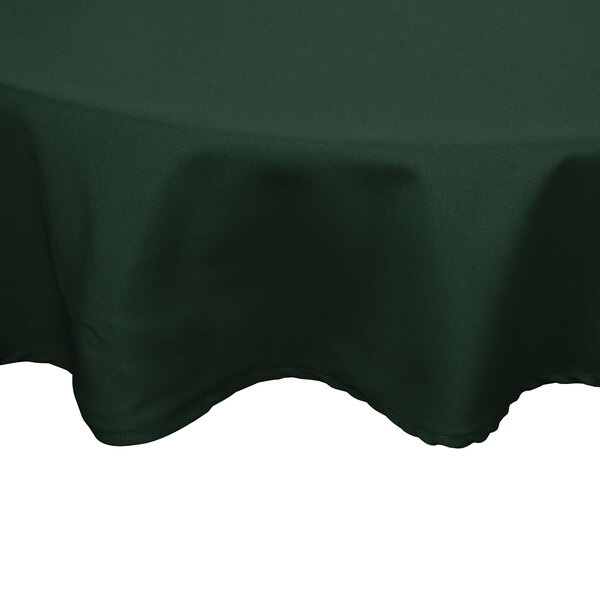 90 inch Round Forest Green 100% Polyester Hemmed Cloth Table Cover