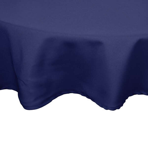 90 inch Round Navy Blue 100% Polyester Hemmed Cloth Table Cover