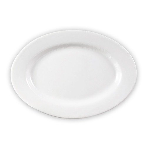 CAC RCN-91 Clinton 20 inch x 13 3/4 inch Bright White Rolled Edge Oval Porcelain Platter - 4/Case