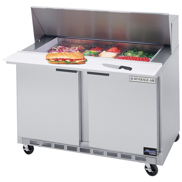 Beverage Air SPE48-18M 48 inch Mega Top Refrigerated Salad / Sandwich Prep Table