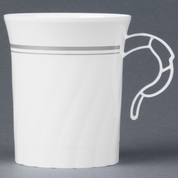 WNA Comet CWM8192WSLVR 8 oz. White Plastic Masterpiece Coffee Cup with Silver Accents 192 / Case