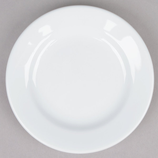 Tuxton ALA-054 Alaska 5 1/2 inch Wide Rim Rolled Edge Bright White China Plate - 36/Case