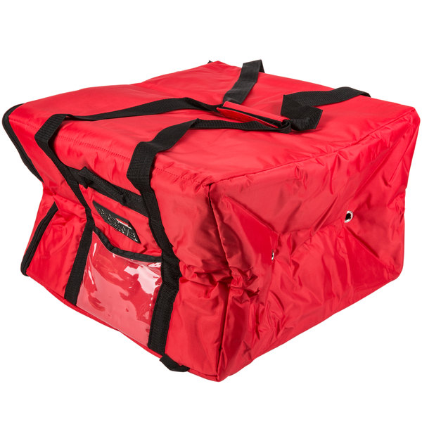 Rubbermaid 9F39 ProServe 19 3/4 inch x 19 3/4 inch x 13 inch Red Insulated Large Nylon Pizza / Catering / Sandwich Delivery Bag