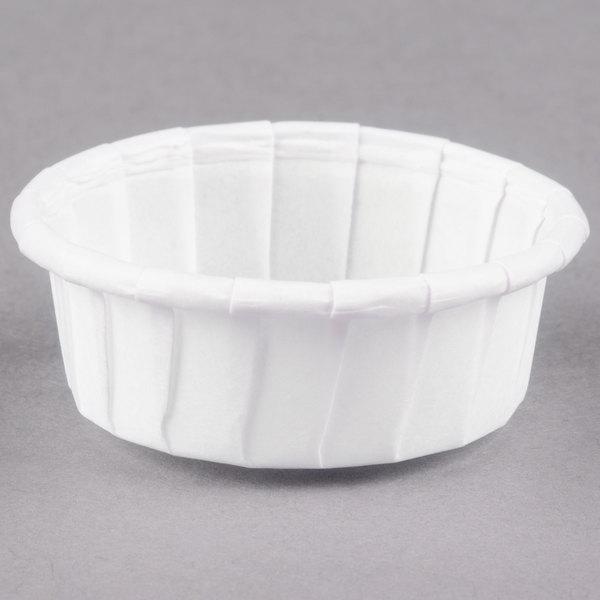 Dart Solo 050S-X2050 0.5 oz. White Squat Paper Souffle / Portion Cup - 5000/Case
