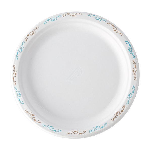 Huhtamaki Chinet 22523 9 3/4 inch Molded Fiber Round Plate with Vine Design - 500/Case