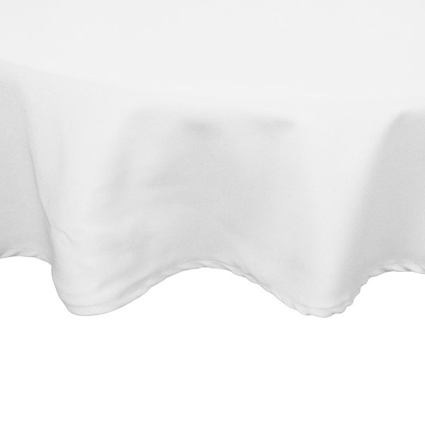 120 inch Round White 100% Polyester Hemmed Cloth Table Cover