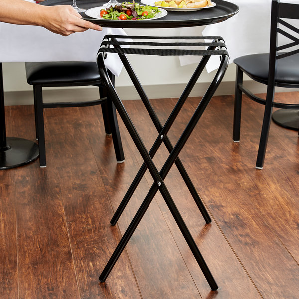 Lancaster Table Amp Seating 31 Quot Folding Tray Stand Black Metal