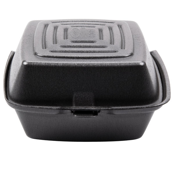 Dart Solo 60HTB1 6 inch x 6 inch x 3 inch Black Foam Hinged Lid Container - 500/Case