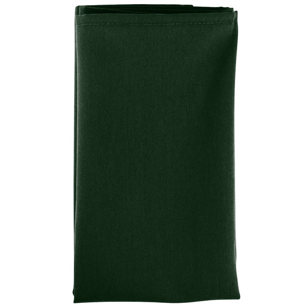 20 inch x 20 inch Forest Green 100% Polyester Hemmed Cloth Napkin - 12/Pack