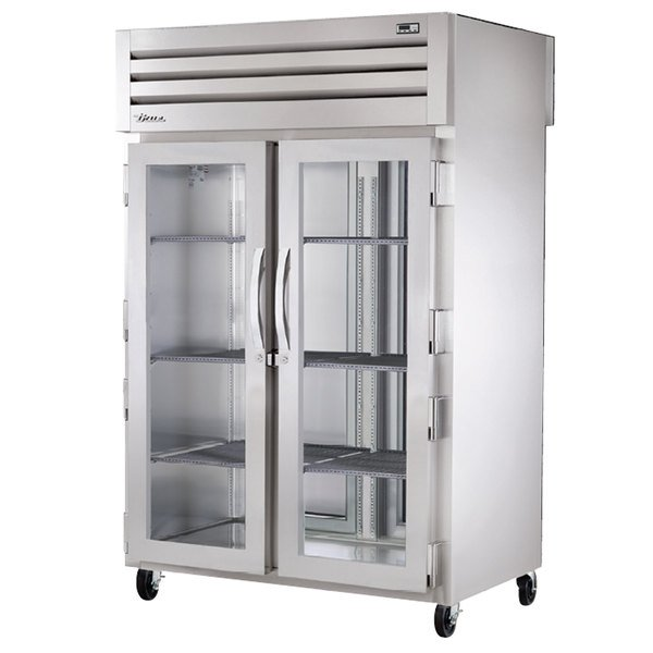 True STG2RPT-2G-2S Specification Series Two Section Pass-Through Refrigerator with Front Glass Doors and Rear Solid Doors - 56 Cu. Ft.