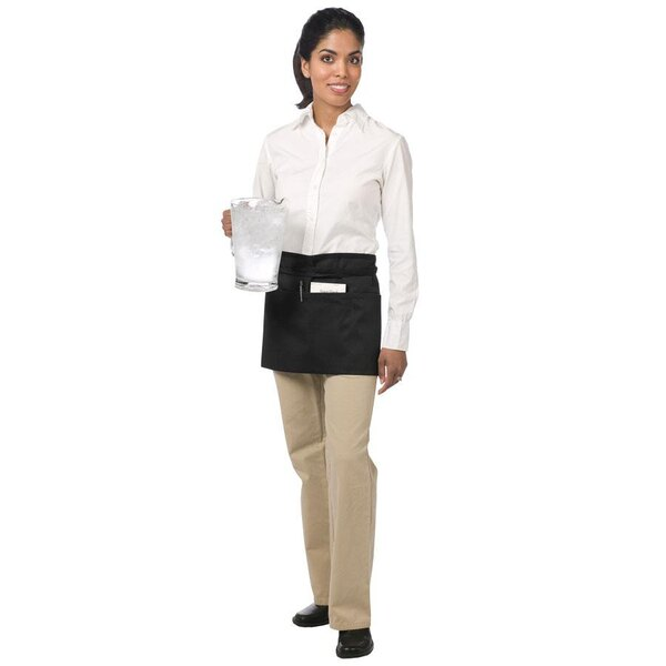 Chef Revival 605WAFH-BK Customizable Black Front of the House Waist Apron - 12 inchL x 24 inchW