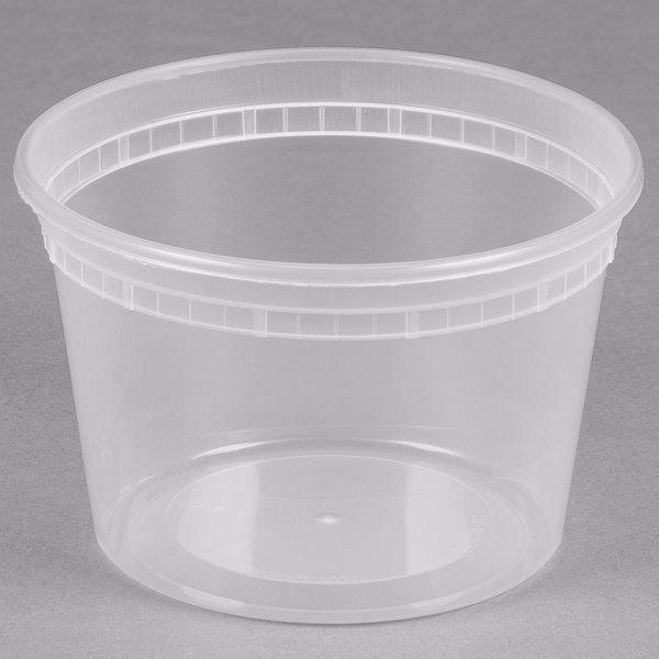 16 oz. Microwavable Translucent Plastic Deli Container - 480/Case