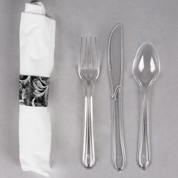 Hoffmaster 119973 Damask CaterWrap 17 inch x 17 inch Pre-Rolled Linen-Like White Napkin and Clear Heavy Weight Plastic Cutlery Set - 50/Pack